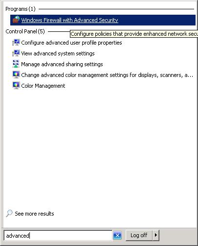 Open a port on windows firewall